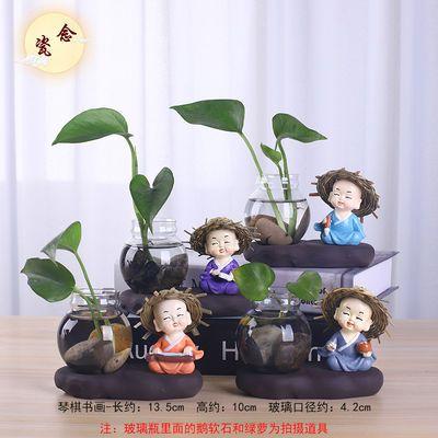 创意水培植物花瓶花盆玻璃陶瓷客厅酒柜装饰品摆件小和尚迷你花器
