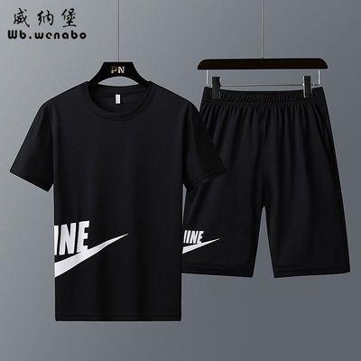 【正品】夏季新款短袖短裤休闲套装男装跑步速干运动服套装