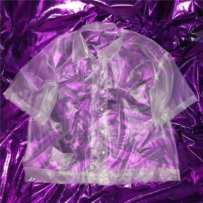 INSstudios。韩国ins潮流复古塑料透明短袖衬衫OV外套20ss男女款
