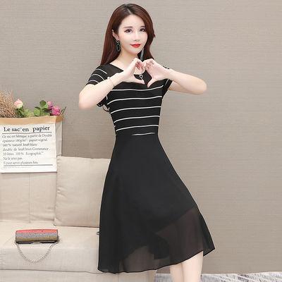 2020夏季大码妈妈装条纹拼接假两件a字裙修身显瘦中长款连衣裙女