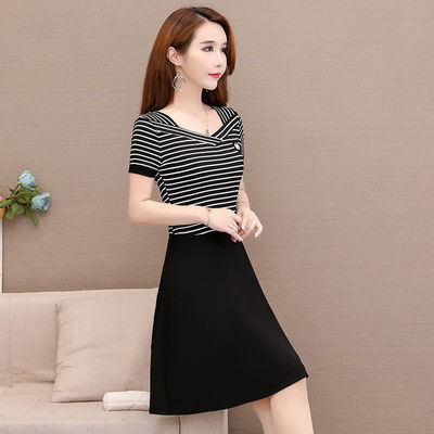 大码条纹短袖连衣裙2020夏季新款中年妈妈修身显瘦中长款A字裙女