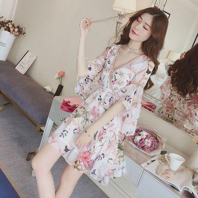 夏季2020新款甜美荷叶袖V领碎花雪纺连衣裙收腰系带印花中长裙子