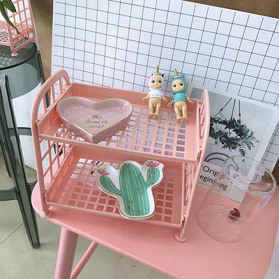 可爱少女心韩版粉色桌面双层置物架抖音同款房间装饰化妆品收纳架