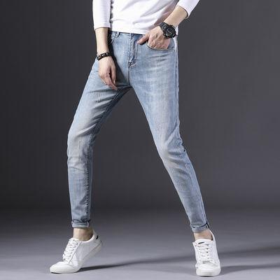 春季新款男生牛仔裤修身弹力浅白小脚牛仔裤男潮品牌男装牛仔裤