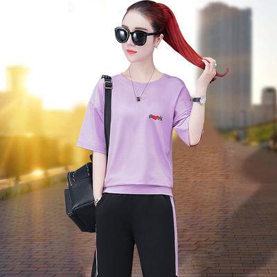 休闲运动服套装女2020新款夏季装长裤百搭跑步服短袖两件套健身服
