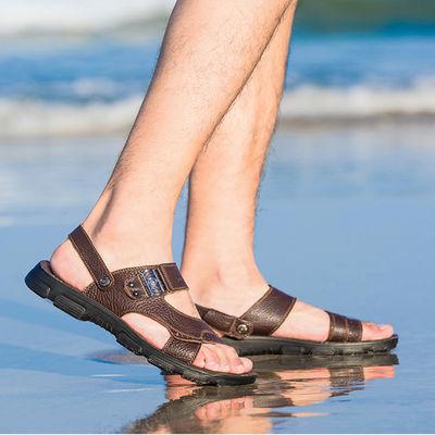 花花公子男凉鞋2020夏季新款男士真皮厚底凉鞋男休闲沙滩凉拖两用