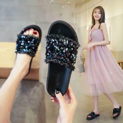 时尚厚底拖鞋女夏外穿韩版鞋子女百搭休闲凉鞋女舒适平底一字拖鞋