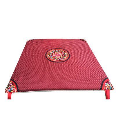 中式亚麻坐垫夏季餐椅垫特色刺绣红木沙发官椅座垫中国风古典坐垫