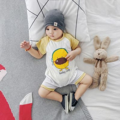 婴儿连体衣夏季纯棉薄款短袖男女宝宝外出服夏装卡通造型哈衣爬服