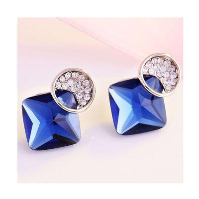 新款超闪水晶银针耳钉女日韩版简约方块气质带钻菱形耳饰耳扣耳环