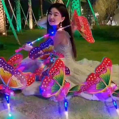 国庆新款发光音乐蝴蝶 手提波波球 发光灯笼公园地摊广场热卖玩具