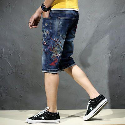 夏季鱼刺绣欧美牛仔短裤男潮流修身个性五分裤薄款5分中裤大裤衩
