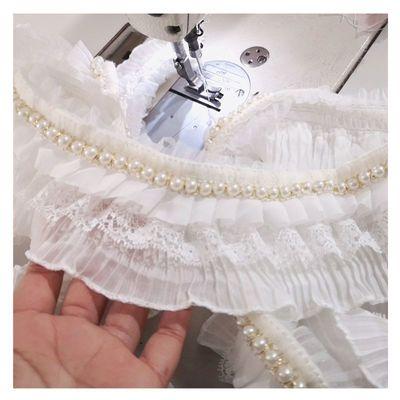 宽8CM 百褶镶珍珠三层蕾丝花边辅料手工DIY服装裙摆领子袖口长1米
