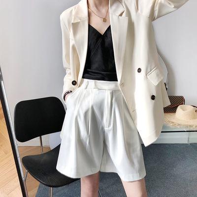 高腰西装短裤女夏季新款直筒休闲阔腿热裤白色显瘦百搭a字五分裤