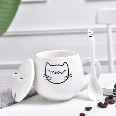 热销创意可爱猫咪马克杯少女心卡通陶瓷杯子情侣水杯咖啡杯带盖勺