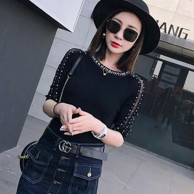 春夏韩版新款时尚钉珠镂空中袖冰丝针织衫修身短款打底上衣T恤女