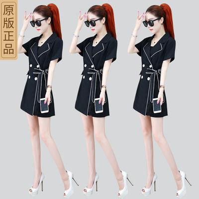 职业套装女2020夏季新款时尚韩版短袖小西装短裤小香风两件套女装