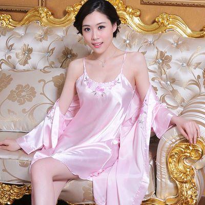 春秋季睡衣女冰丝绸夏天女款吊带性感睡裙长袖睡袍高端丝绸家居服