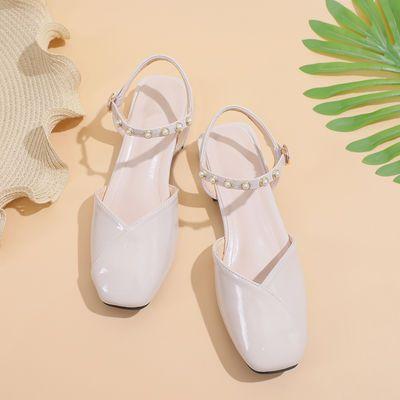 包头凉鞋女仙女风2020夏季新款水钻漆皮方头粗跟一字扣浅口