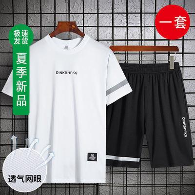 短袖t恤男2020夏季套装上衣服潮流搭配帅气T跑步运动休闲潮牌男装
