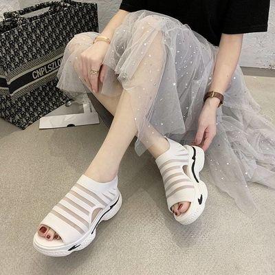2020夏季运动凉鞋女透气飞织网布镂空鱼嘴鞋百搭松糕厚底休闲凉鞋