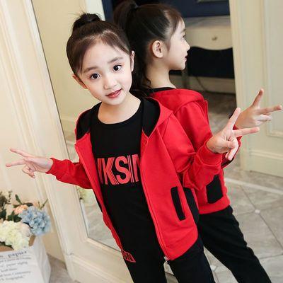 女童三件套春秋装2020新款时髦潮童装女大童洋气儿童韩版运动套装