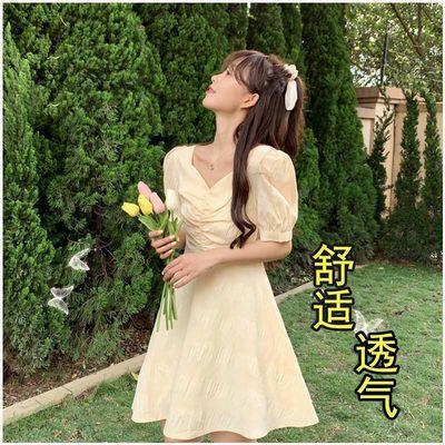 雪纺连衣裙长裙女2020夏季新款女士高档高腰V领泡泡袖中长款裙子
