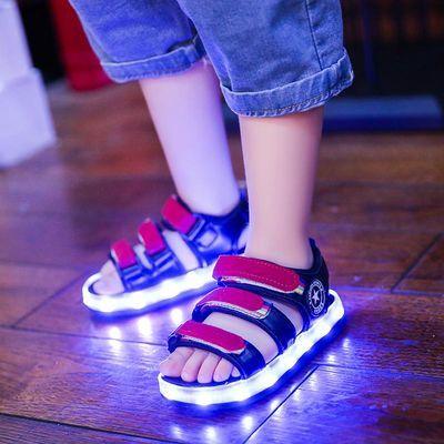 夏季男女童发光凉鞋儿童带灯凉鞋女童亮灯鞋充电七彩夜闪光带灯鞋