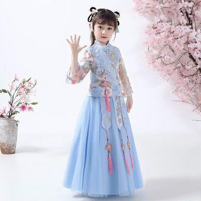 买一送三女童裙子春季公主裙大童装春夏装女童复古套装汉服连衣裙