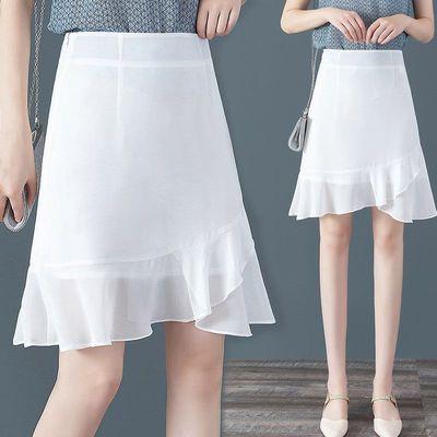 白色半身裙女夏荷叶边雪纺短裙高腰a字裙包臀裙垂感不规则鱼尾裙