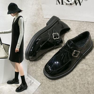 2020春季新款英伦风复古小皮鞋女鞋金属扣单鞋乐福学院休闲懒人鞋