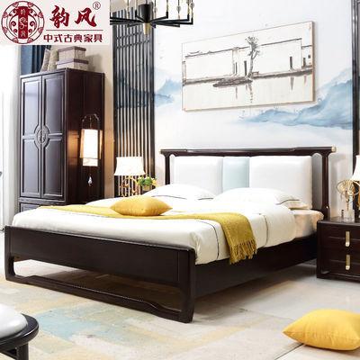 新中式实木床1.8双人床经济型软靠现代简约ins轻奢主卧室家具婚床