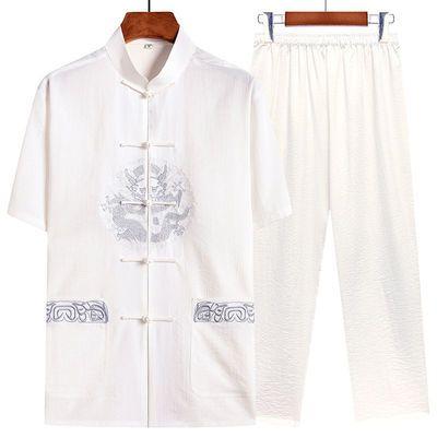 唐装男士夏季短袖两件套装中式爸爸夏装爷爷老人衣服老头刺绣汉服