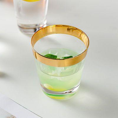 水晶金边玻璃水杯透明描金杯饮料果汁牛奶早餐杯喝水家用网红客厅