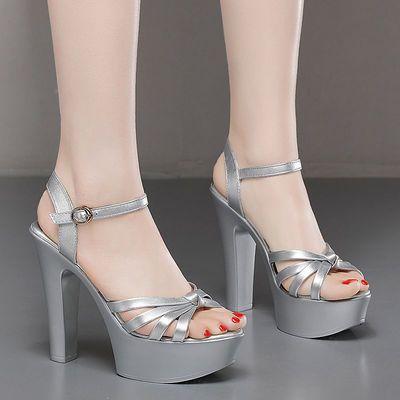 恨天高13cm超高跟鞋粗跟凉鞋女夏防水台性感夜店模特走秀T台女鞋