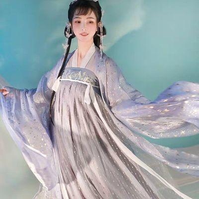 云裳纪云月蓝金古装汉服女唐制齐胸襦裙大袖汉服汉元素日常套装
