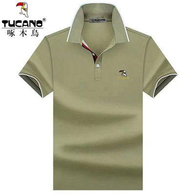 啄木鸟 2020春夏季新款纯棉短袖t恤中老年商务休闲翻领男装polo衫