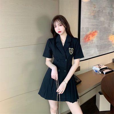 西装连衣裙女装黑色修身显瘦双排扣裙子2020新款夏季气质百褶短裙