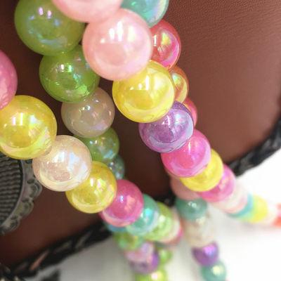 diy儿童手工亚克力珠子果冻珠彩色珠双孔圆珠子串珠饰品配件材料