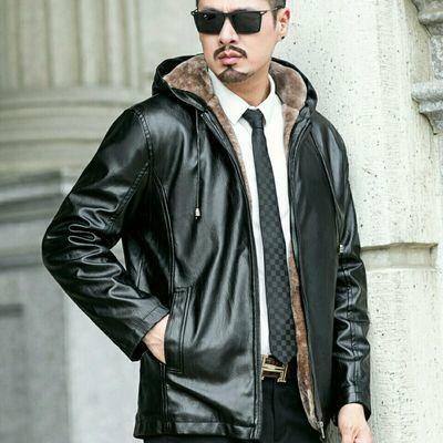 秋冬新款男士皮衣外套中青年韩版时尚立领爸爸装加绒加厚皮夹克潮