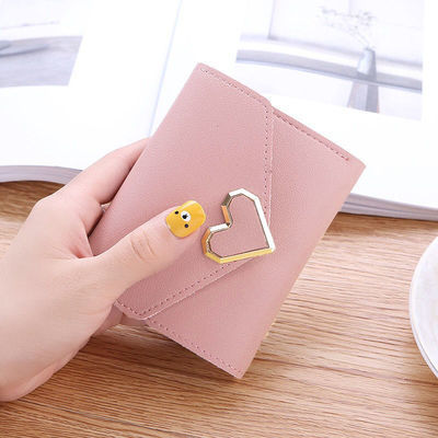 新款时尚小钱包女短款钱包学生韩版搭扣零钱包迷你小手包简约卡包