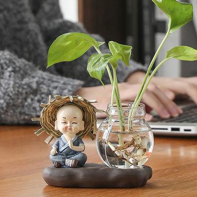 创意玻璃摆件和尚小花器花盆特价茶桌绿萝花插花瓶陶瓷水培容器架