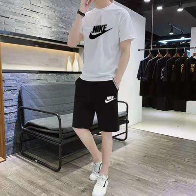 夏季男士运动套装纯棉新款休闲短袖跑步韩版宽松潮五分短裤两件套