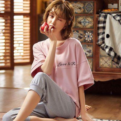 七分裤睡衣女夏短裤纯棉两件套分体短袖学生韩版可爱家居服可外穿