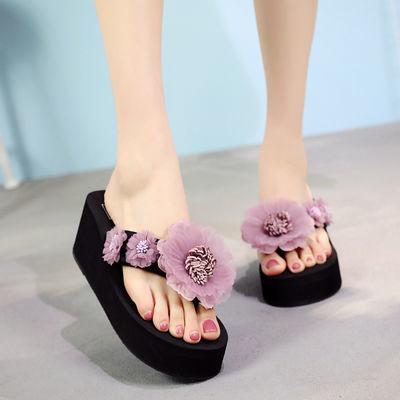 夏季女士花朵时尚人字拖度假海边沙滩鞋网红防滑厚底高跟凉拖鞋潮