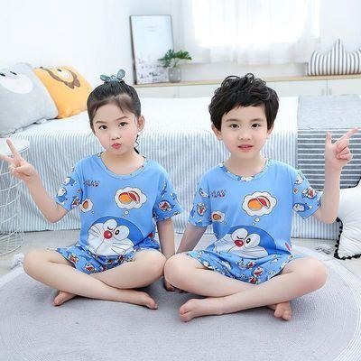 女童儿童睡衣夏季男童小孩短袖薄款套装中童哆啦A梦睡衣家居服夏