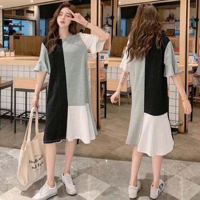韩版2020夏季女新款拼色大码宽松时尚荷叶袖短袖T恤连衣裙学生女