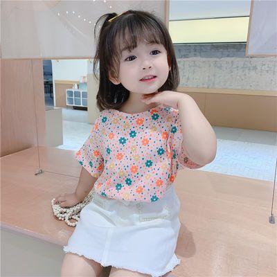 女童短袖夏季2020新款女孩T恤洋气网红上衣纯棉宝宝t恤潮
