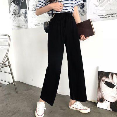2020新款黑色阔腿裤女高腰学生坠感直筒休闲宽松九分西装裤子夏季