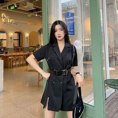 大码连衣裙夏胖妹妹200斤遮肚减龄双排扣收腰显瘦黑色西装裙工装